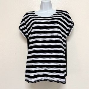 Zenergy By Chico's Size 1 Striped Black and White